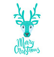 merry christmas greeting card with furry deer vector image vector image