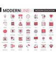 modern education red black flat line icons vector image vector image