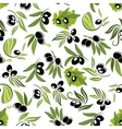 Olive fruits on branches seamless pattern vector image