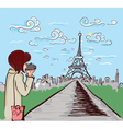 paris doodles with lady vector image vector image