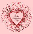pink sequins heart frame happy valentines vector image