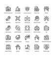 project management line icons set 19 vector image
