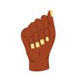 raised black hand female fist white background vector image vector image