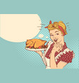 retro smiling housewife cooks roasted turkey in vector image vector image