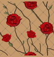 seamless pattern of twigs and roses vector image vector image