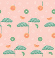 seamless pattern with tropical leaves geometric vector image