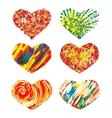 set hearts hand drawn design elements eps10 vector image