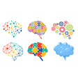 set icons colorful brain polygonal shapes vector image