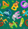 Set of animals alphabet for kids fish letters