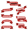 set of different ribbons for memorial day america vector image vector image