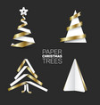 set of various paper christmas trees vector image vector image