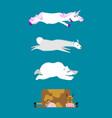 sleeping animals set 3 unicorn and polar bear cow vector image vector image