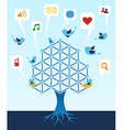 Social media network tree vector image vector image