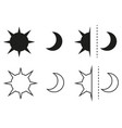 sun and moon flat icon sign sun and moon logo vector image
