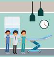 three doctors male in hospital room wheel bed vector image