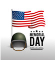 usa flag with military helmet to memorial day vector image