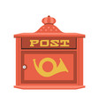 vintage red post box or mailbox icon vector image vector image
