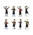 cartoon graduation of happy students set vector image