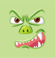 angry green monster face vector image