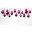 background with pink christmas balls vector image vector image