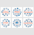 banners- ftp latency bandwidth and cloud storage vector image vector image