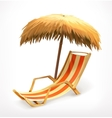 Beach umbrella and lounge chair vector image vector image