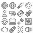 car parts icons set on white background line vector image