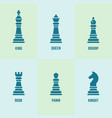 chess pieces with named silhouette icons vector image vector image