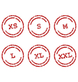 Clothing size stamps vector image vector image