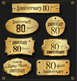 collection of anniversary retro gold labels 80 vector image vector image