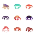Crayfish icons set cartoon style vector image