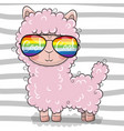 cute lama with sun glasses vector image