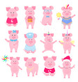 cute piggy in different costumes unicorn santa vector image vector image