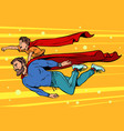 dad and son are superheroes fatherhood and vector image