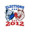 Democrat Donkey Republican Elephant Mascot 2012 vector image vector image