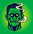 frankenstein smoking cannabis halloween vector image vector image