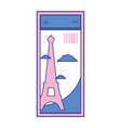 full color eiffel tower of paris ticket vacation vector image vector image