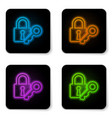 glowing neon lock and key icon isolated on white vector image vector image