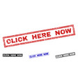 grunge click here now textured rectangle stamps vector image vector image