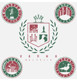 grunge coat of arms and emblems with landmarks of vector image vector image