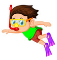 happy snorkeling boy vector image vector image