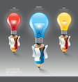Infographic pencil with light bulb idea education vector image vector image