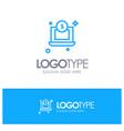 laptop dollar money blue outline logo place vector image vector image