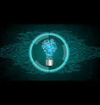 light bulb on blue abstract technology background vector image vector image