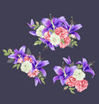 pink rose and violet lily vector image vector image