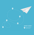 realistic detailed 3d paperplane and track vector image vector image
