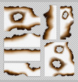 realistic scorched pieces paper set vector image