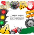 realistic traffic elements template vector image vector image