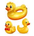 rubber ducks 3d icon set vector image