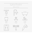 set of sanitary engineering icons vector image vector image